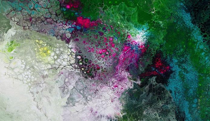 Erwachen Fluid Art Abstraktes Wandbild grün rosa Künstler Bilder handgemalt