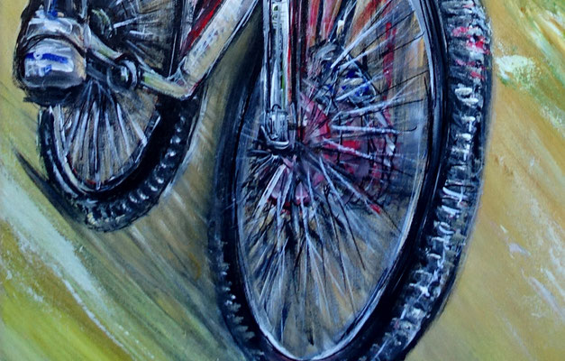 Mountainbiker Downhill handgemaltes Wandbild Gemälde Unikat Malerei 60x120