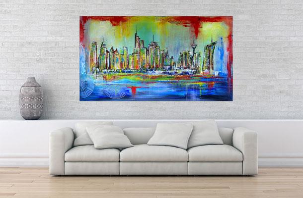 Frankfurt Skyline handgemalt abstrakte Malerei Gemälde Bild Acryl 80x140