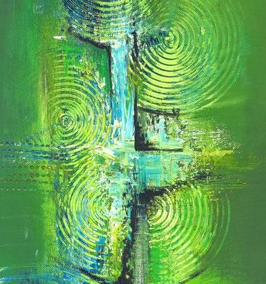 Wandbilder grün abstraktes Acrylgemälde  hochformat 3+4 k