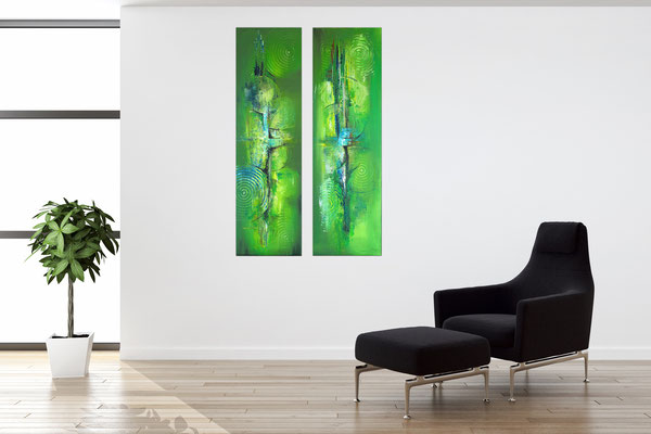 Küchenbilder grün abstraktes Acryl gemälde zweiteilig hochformat 5+6 k2