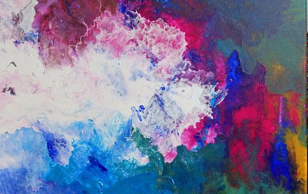 Weiße Taube abstraktes Wandbild rosa blau Original Gemälde Unikat