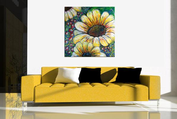 Sonnenblume Gemälde Malerei Acrylbild Wandbild Praxis bilder Kunst 80x80