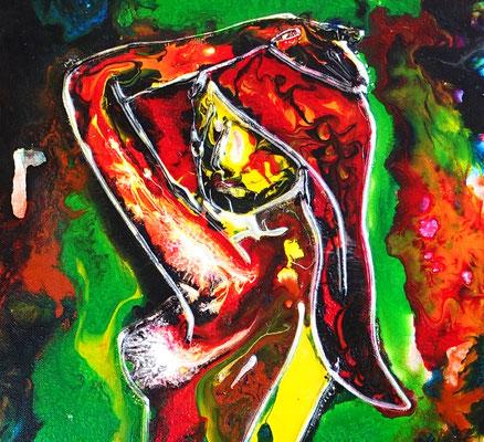Rückblick erotik Bild Frau nackt handgemalt  Acrylbild leinwandbild Malerei Schlafzimmerbild
