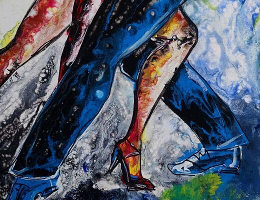 Tango 21-1 Wandbild Tänzer Tanzbild Tanzpaar Modernes Leinwandbild Original Acrylgemälde