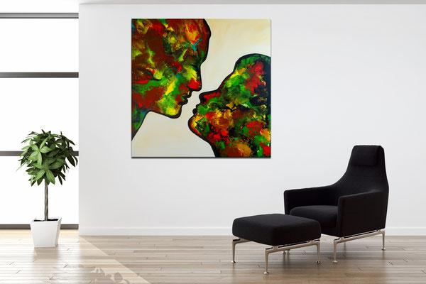 Kuss 21-1 abstrakte Malerei Liebesbild Wohnzimmerbild Fiuren Gesichter Kunst Bild Unikat