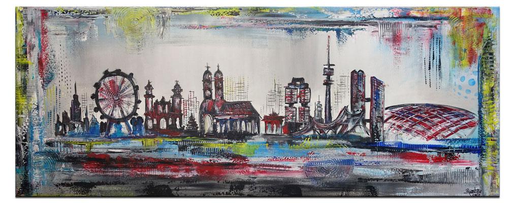 München Skyline abstrakt gemalt Kunstbild Leinwandbild Wandbild Acryl Gemälde
