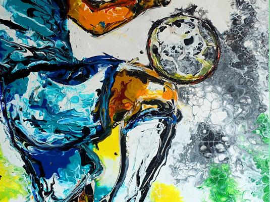 Fußball Knie Dribbeln abstrakte Sport Malerei Original Gemälde Bild