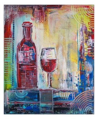 Weinglas Flasche abstrakte Malerei Gläser Rotwein Acrylbild Wandbild 50x60