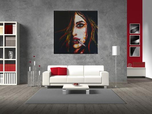 Smoking Menschen Frau Gesicht Malerei GEmälde Unikat handgemaltes Leinwandbild 100x100
