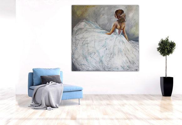 Goldenes Haarband Braut Brautmoden Ballerina Gemälde Acrylbild