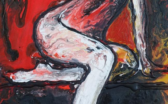 erotische Malerei Fluid Painting Erotik Bild Nackte Frau rot 50x70