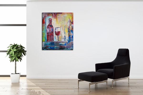 Weinglas Flasche abstrakte Malerei Gläser Acrylbild Wandbild 50x60
