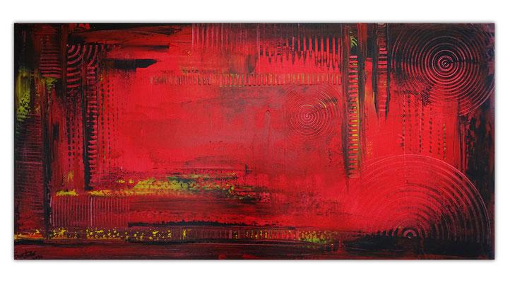 Glut abstraktes Wandbild rot schwarz Malerei Leinwandbild Gemälde Unikat Kunst