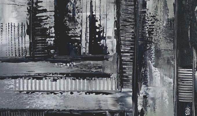 Mystic schwarz grau abstraktes Wandbild Gemälde Unikate 100x100