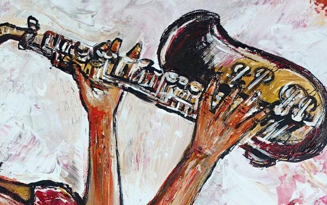 Saxophonistin querformat handgemalt Musiker Bild Gemälde Saxophon rot grau