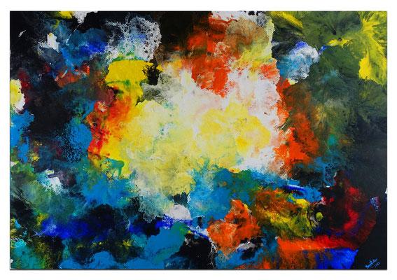 Galaktischer Nebel abstrakt gemalt Fluid Art Wandbild blau gelb bunt Original