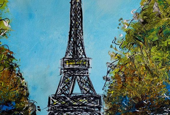 Paris Eiffelturm Malerei Kunst Bild Wandbild handgemalt Acryl