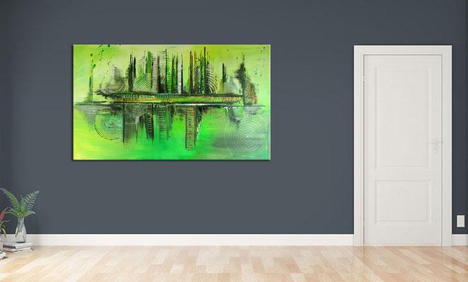 Skyline Grün Gelb 80x140 abstraktes Kunst Bild Original Gemälde