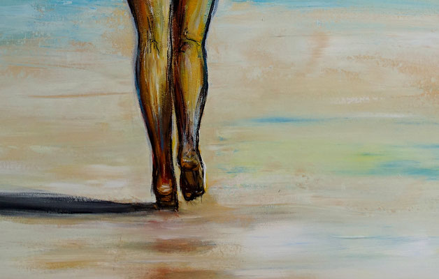 Strandspaziergang nackte Frau Strand gemalt Kunst Erotik Bild