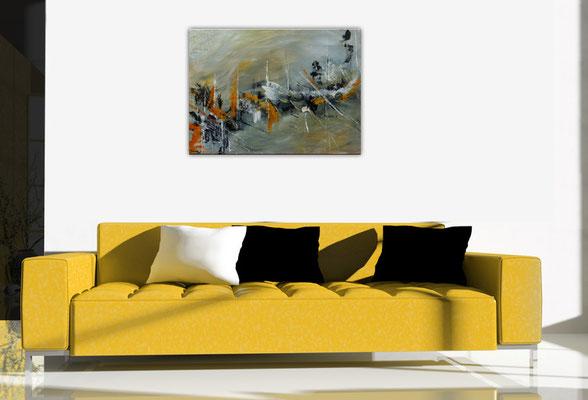 Abstraktes Original Gemälde Kunst Bild grau beige