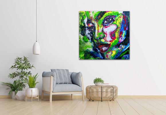 Nelly moderne Porträt Malerei Gesicht abstrakt handgemalt Original Acryl Gemälde
