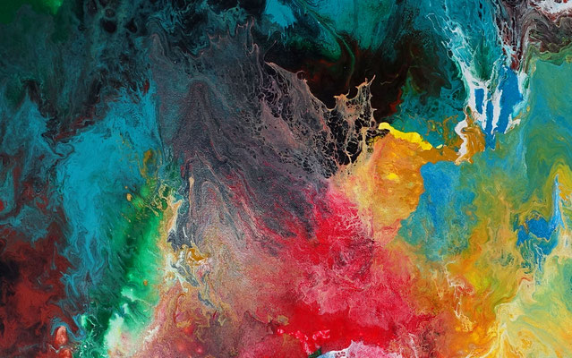 Morgentau abstrakte Malerei buntes Acrylbild Original Gemälde XXL