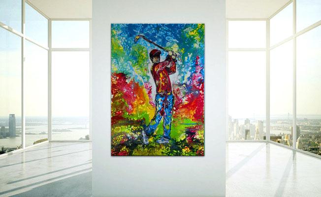 Golfspieler Bilder Abschlag Golf bilder handgemalt Wandbild Acrylbild Malerei Kunst Gemälde