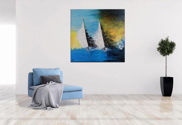 Feuersegler 80x80 Wandbild Segelboote Regatta Maritim abstrakt Kunstbild 2103