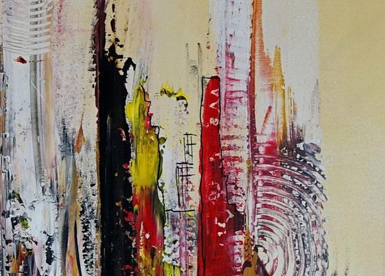 Feuerfront abstrakte Kunst Malerei Modernes Acrylbild rot