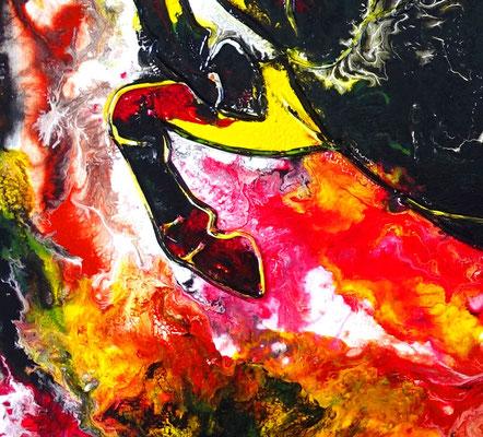 Feuerpferd 4 100x100 Pferdebild Pferd handgemalt abstrakt bunt schwarzer Hengst