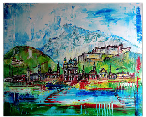 Salzburg Skyline Altstadt abstrakt gemalt Malerei Kunstbild Acryl Bild