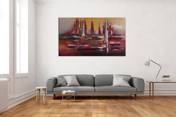 Denver abstrakte Skyline Leinwandbild rot Original Gemälde Acrylbild handgemalt 140x80