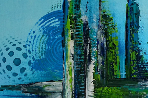 Meeresgrund abstraktes Leinwandbild blau grün handgemalt Original Gemälde Wohnzimmerbild