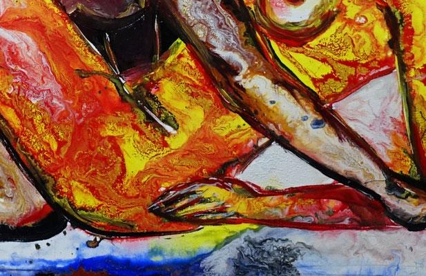 Frauenliebe Liebespaar Akt Malerei Frauen zärtlich Erotisches Gemälde Erotik
