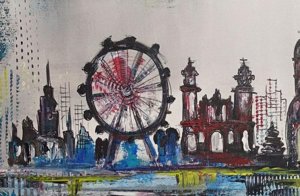 München Skyline abstrakt gemalt Kunstbild Leinwandbild Wandbild Acryl