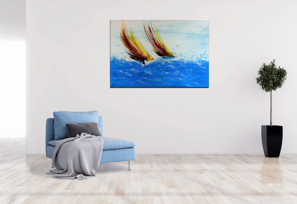 Sturmsegler 70x100 moderne Kunst Malerei Segelboote abstrakt gemalt Wandbild Regatta