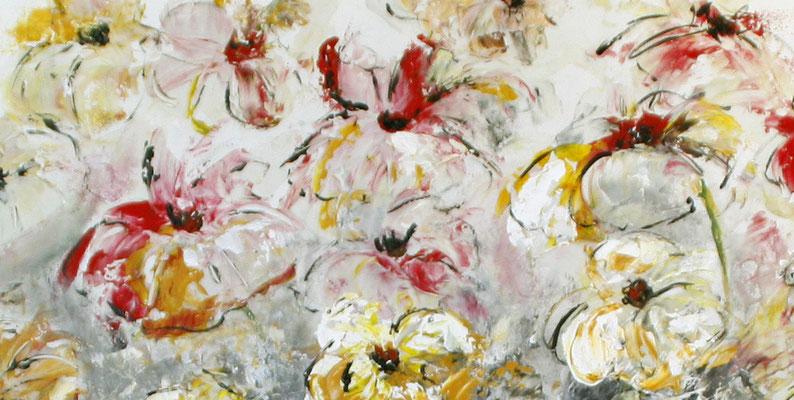 Blumenbild zweiteilig abstrakt xxl grau rot gelb Blumen Gemälde - Detail 4