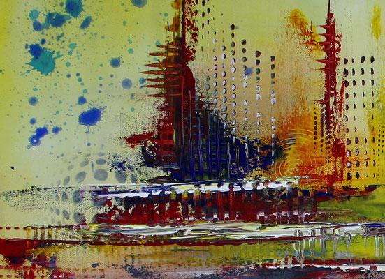 Timbuktu XXL gelb abstrakte kunst malerei bild wandbild