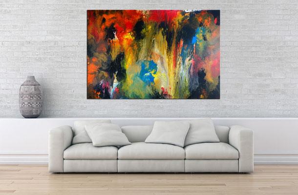 Höhlenreich abstraktes Wandbild XXL orange rot Kunst Bild Original Gemälde handgemalt  150x100