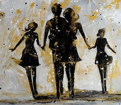 Familien Harmonie Menschen Eltern Kinder Bild Malerei Gemälde Modernes