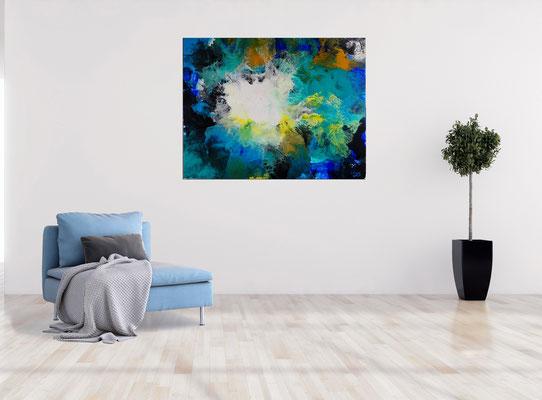 Flut Fluid Art Acrybild blau abstrakte Malerei Leinwandbild Wandbild Gemälde 100x80