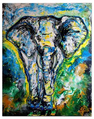 Elefant Elefantenbulle handgemalt Acryl Malerei Gemälde handgemalt Pouring 80x100