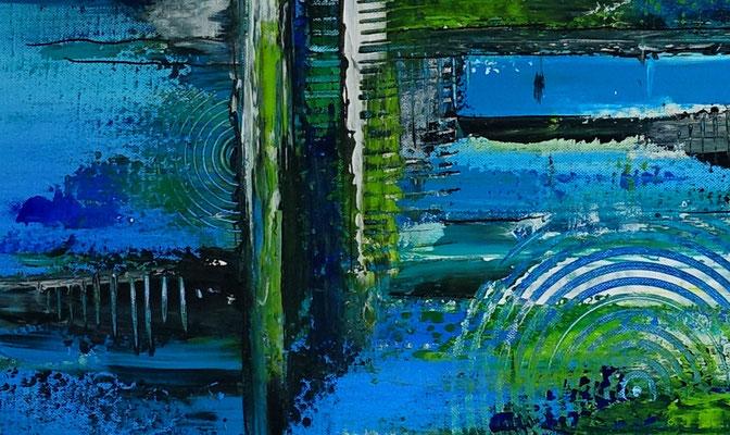 Meeresgrund abstraktes Leinwandbild blau grün handgemalt Original
