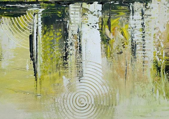 Infinion Abstrakte Malerei Wandbild Kunstbild Gelb 50x100 hochkant