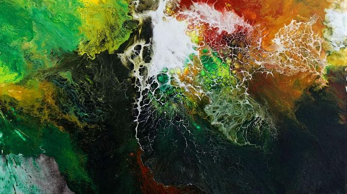 Urwald abstraktes Kunstwerk handgemalt Leinwandbild Acryl