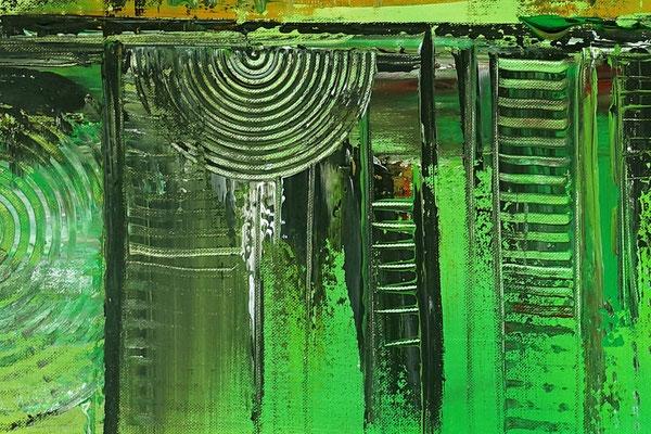Skyline Grün Gelb 80x140 abstraktes Kunst Bild handgemalt Gemälde