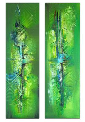 Küchenbilder grün abstraktes Acrylgemälde zweiteilig hochformat 5+6 k2