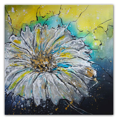 Flugsamen 80x80 blumenbild margerite blumen gemälde malerei abstrakt gelb weiß