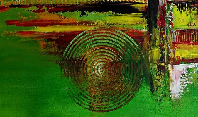 Im Park abstraktes Bild grün rot Moderne Malerei Original Gemälde Acrylbild